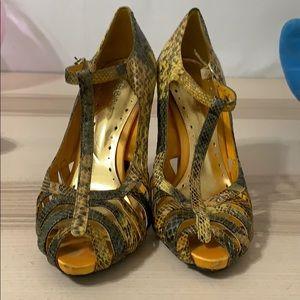 BCBGirls Yellow and Olive Snake Print Heels